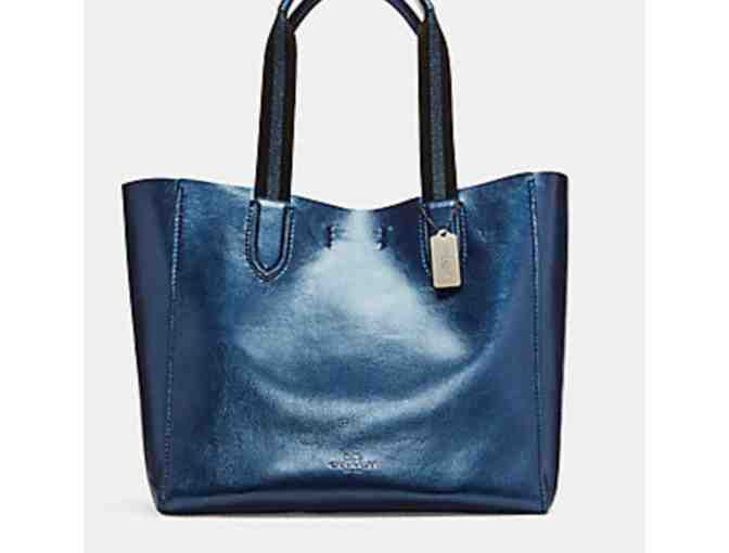 COACH LARGE DERBY TOTE IN METALLIC PEBBLE LEATHER - Photo 1