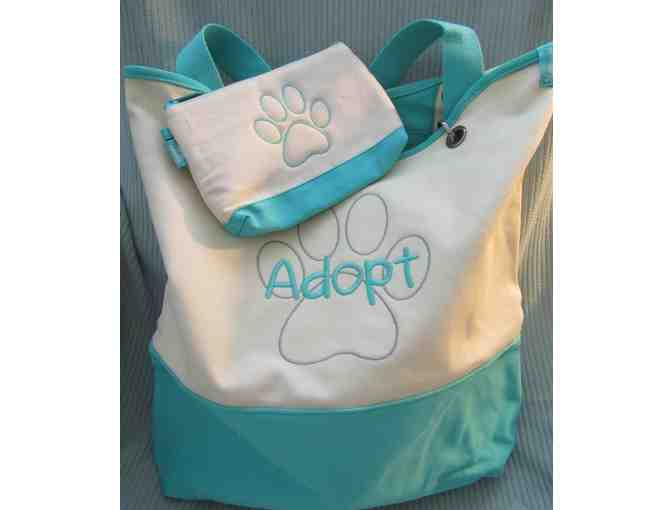 Thirty-One Teal Large Adopt Tote with Mini Zipper Pouch
