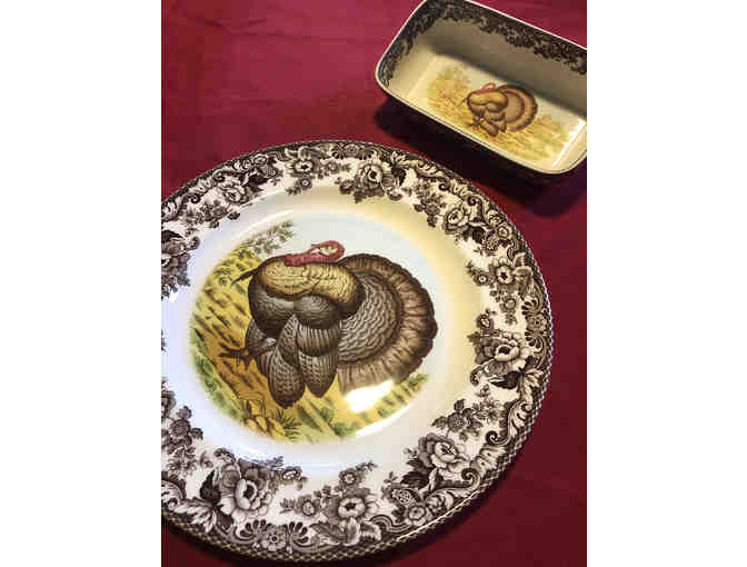 12- Spode Woodland Turkey Round Platter and Cranberry Dish and Thanksgiving kitchen towel - Photo 1