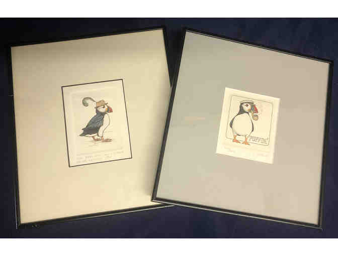 119- Song Birds Are Never Satisfied - Two puffin sketches by Lucius DuBose - Photo 1