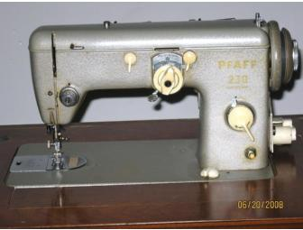Pfaff 230 Antique Sewing Machine in a Cherry Cabinet, circa 1950-1960