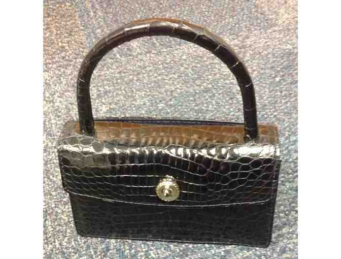 Black alligator evening bag