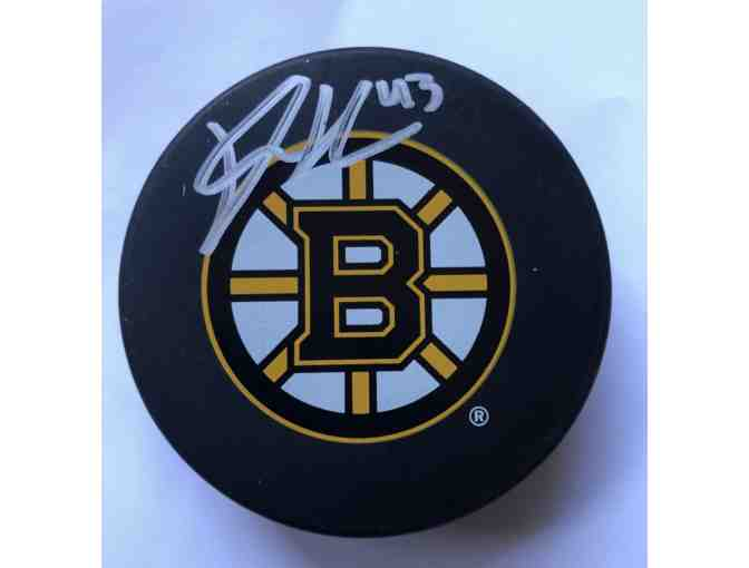 Boston Bruins Danton Heinen Autographed Hockey Puck