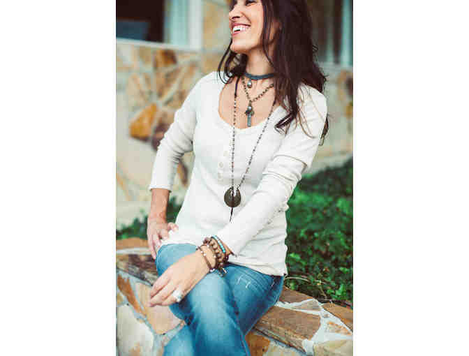 Three piece necklace set, modeled by HGTV star - Anita Corsini
