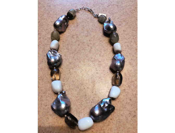18' Grey Pearl Necklace with Agate and Crystals
