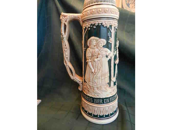 Ornate Green and Beige Stein 14' Tall