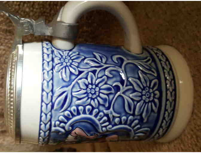 Blue & White Lidded Stein