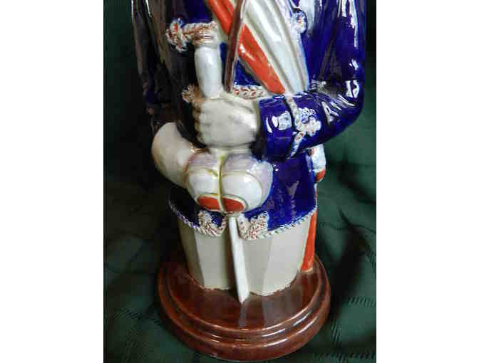 Hand Painted Salt-Glazed Lidded Soldier Stein