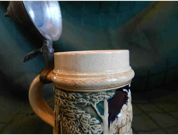 Biege Beer Stein Lidded with Blue & Green Forest Scene