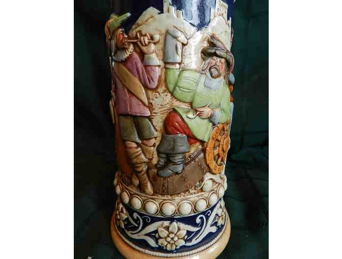 Ornate Branch Handled 9' Tall Beer Stein Lidded