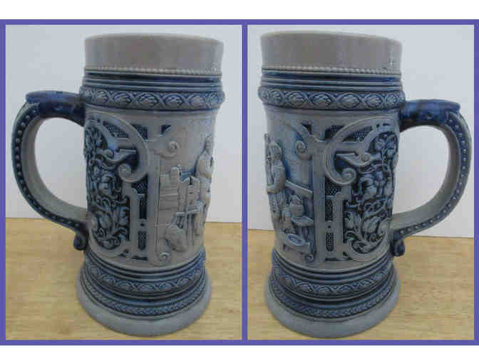 Ornate Blue & Gray Beer Stein Without Lid