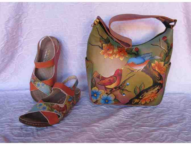 Anuschka Two for Joy Hand-Painted Leather Hobo Bag and Sandals Size 6
