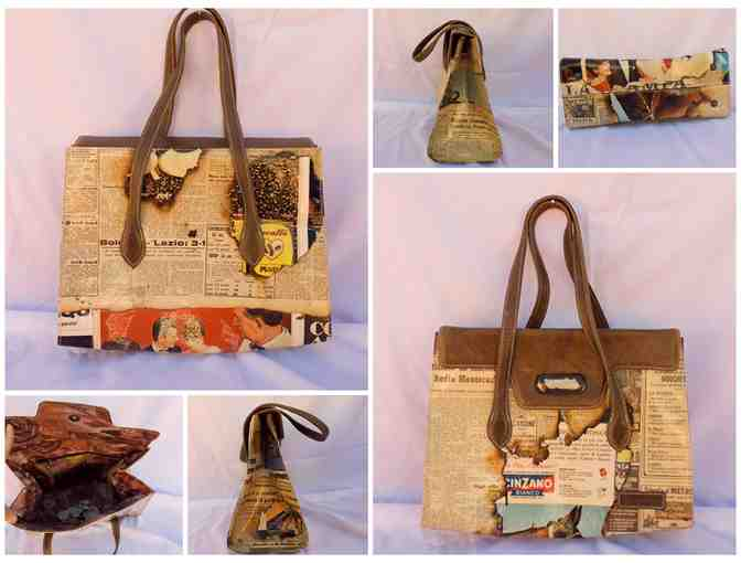 Italian Momboma Newsprint Purse