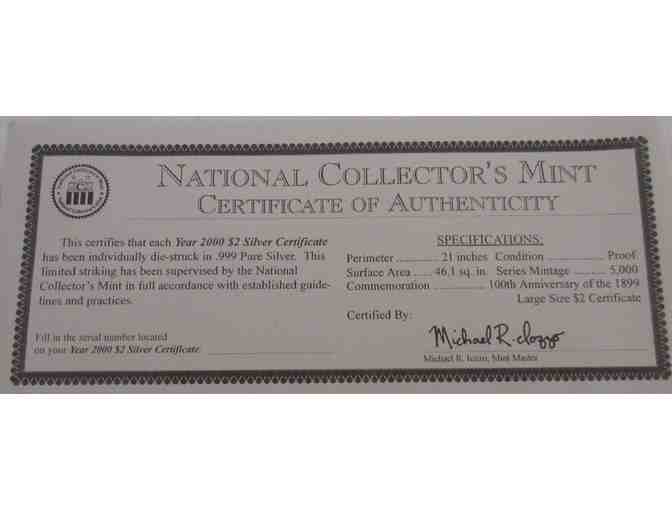 National Collector's Mint 2000 $2 Silver Certificate in .999 Pure Silver