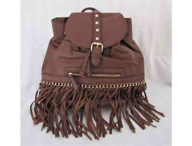 Brown Fringe Studded Backpack - Photo 1