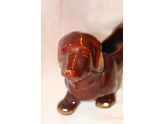 Large Brown Dachshund Vintage Planter
