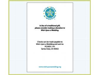 In lieu of Gifts - Complimentary WUW post cards to include in your invitation suites