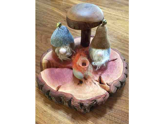 Ms. KT and Ms. Maria's handmade Wooden Mushroom and Gnomes set!