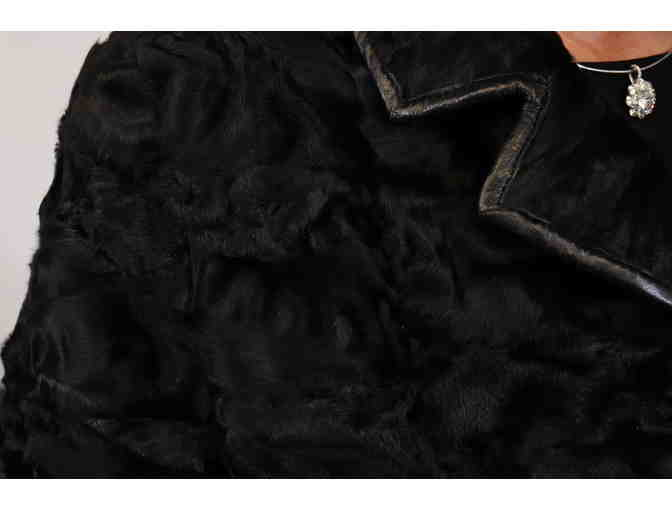 Black Sheared and Sculptured Mink Walking Coat