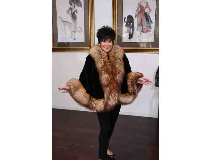Sheared Chocolate Mink Cape with Crystal Fox Trim