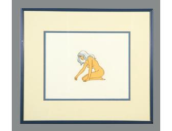 Original Production Animation Cel Painting of Taarna from the Movie Heavy Metal with Blue Frame