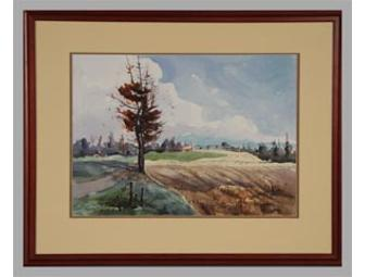 Dick Kane Offers an Original Watercolor Double Matted & Framed Titled Pittsford Farmlands