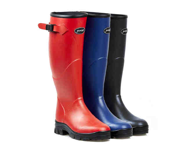 A pair of Gumleaf Norse Women's Boots in fire-engine red, brilliant blue, or black