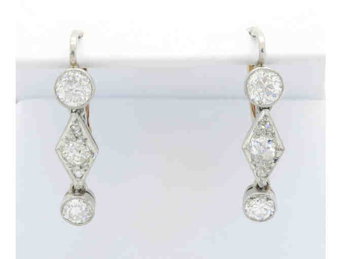 Vintage 1.06ctw Diamond, Platinum and Rose Gold Earrings