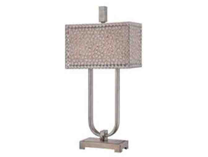 Table Lamp-Confetti Metal Shade with Old Silver Finish Base by Quoizel