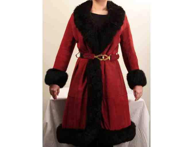 Vintage 1970s Women's Red Suede Coat with Black Fox Fur Trim