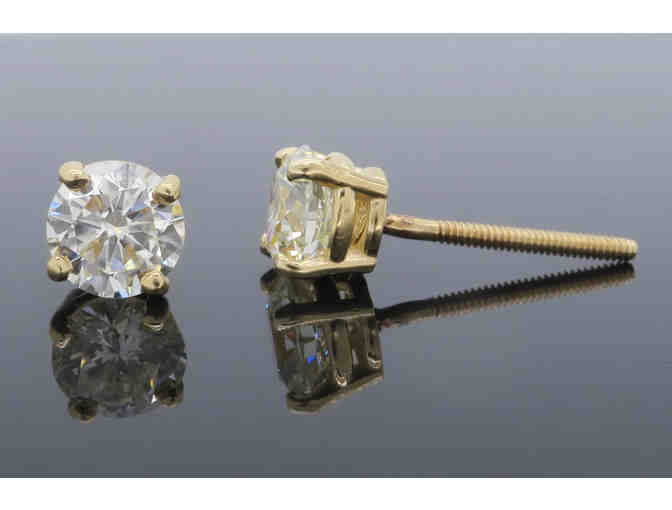 14k Yellow Gold 1.56 Carat Diamond Screw-back Stud Earrings