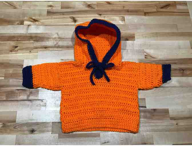 Homemade Baby Orange and Blue Hooded Sweater