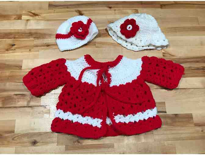 Homemade Red and White Baby Dress with Interchangeable Hats