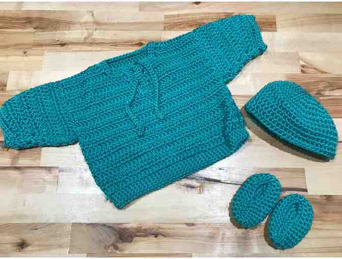 Homemade Blue Baby Sweater, Hat and Booties