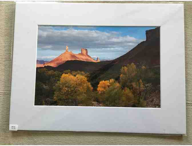 Bret Edge: Castle Tower and Autumn Cottonwoods in Moab 12x16 matted photograph,