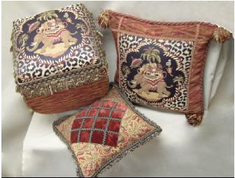 Embellished Foot Stool and pillows