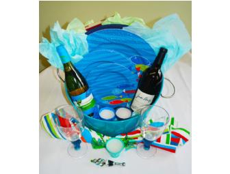 'Fish in the Deep Blue Sea' Wine & Dinnerware Gift Basket