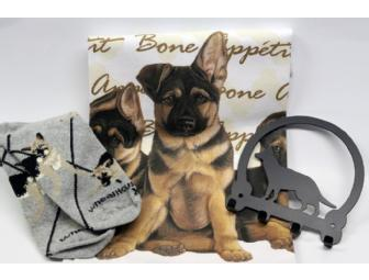 German Shepherd towel, socks, key rack