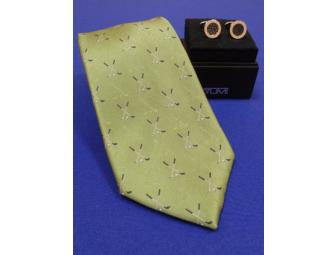 Silk Tie by IZOD and TUMI Cufflinks