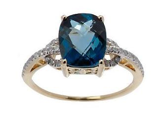 14K Yellow Gold Cushion Cut London Blue Topaz 2.95 ct tw with diamonds
